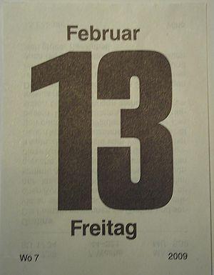 Deutsch: Kalenderblatt mit Freitag, dem 13.