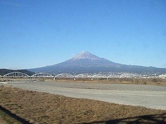 Fuji River - Mt. Fuji and a bridge over the Fuji River