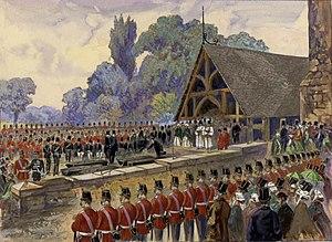 Battle of Ridgeway - Funeral for Canadian volunteers killed at Ridgeway in the Fenian Invasion (St. James Cemetery, Toronto).