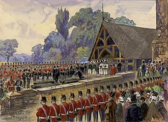 Fenian raids - A funeral for soldiers killed during the Fenian attacks in Canada East, 30 June 1866.