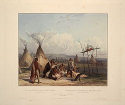 Funeral scaffold of a Sioux chief (Karl Bodmer)