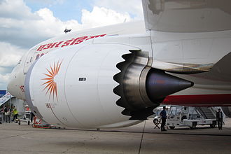 Turbofan - Chevrons on an Air India Boeing 787 GE GEnx engine.