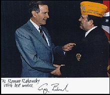 In 1992, President George H.W. Bush met with Roman Rakowsky of Ukrainian American Veterans Ohio Post 24, during his term as National Commander.