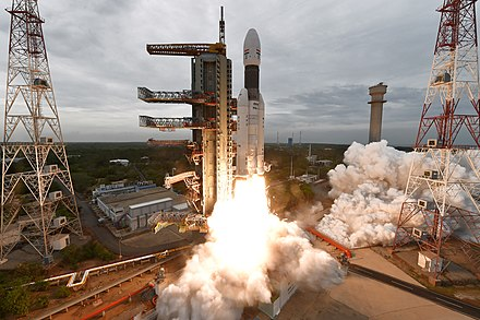 Chandrayaan-2 lifting off on 22 July 2019 at 2.43 PM IST GSLV Mk III M1, Chandrayaan-2 Lifting off 01.jpg
