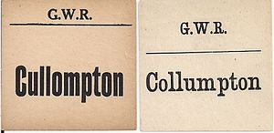 Cullompton - GWR luggage labels for Cullompton, showing both spellings used.