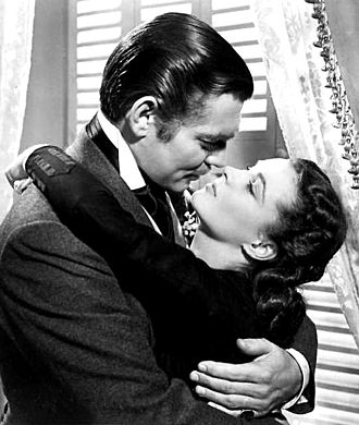 Clark Gable and Leigh strike an amorous pose in Gone with the Wind (1939) Gable-Leigh GWTW-b.jpg