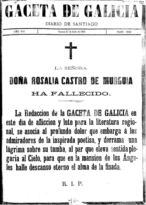 Gaceta de Galicia de Santiago, do 17/7/1885.
