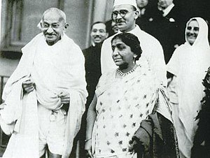 English: Gandhi in London with Sarojini Naidu ...