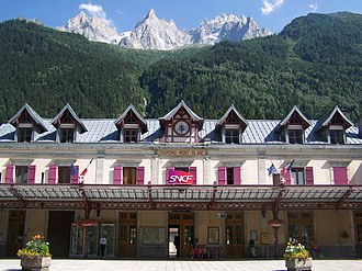 Chamonix - Front and façade of the Chamonix - Mont-Blanc railway station.