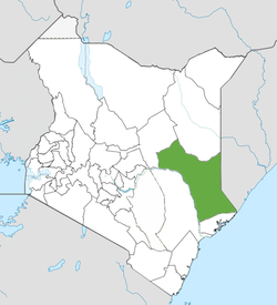 Location of Garissa County (Green)