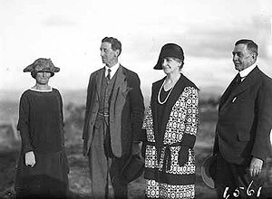 Garran and his wife Hilda (second and first from left respectively) and their friends Sir Littleton Groom and his wife Jessie (first and second from right respectively), photographed at Telopea Park in 1926.