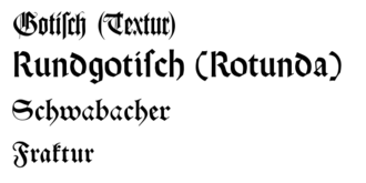The names of four common blackletter typefaces written in their respective styles Gebrochene Schriften klein.png