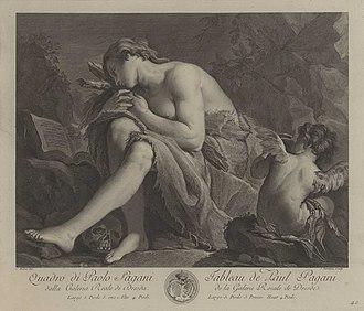 Jacques-Nicolas Tardieu - La Magdeleine pénitente, gravure de Tardieu d'après Paolo Pagani, v. 1750, Dresde, Galerie des vieux maitres de Dresde.