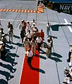 Gemini 5 - Cooper and Conrad red carpet aboard USS Lake Champlain - S65-45292.jpg