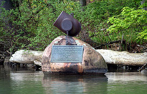 Monument at the site of Gen. Clinton's dam at the source of the Susquehanna River on Otsego Lake in Cooperstown, New York