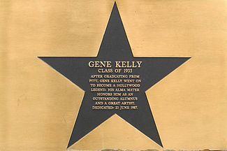plaque honoring gene kelly at his alma mater the university of pittsburgh 1942 best actor award