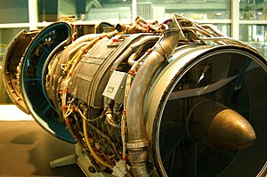 General Electric CJ805 - Cutaway of a CJ805-23, the turbofan version of the engine, with fan at the rear