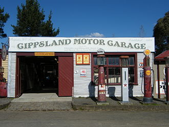 Texaco - Gippsland Motor Garage, Old Gippstown, Moe, Victoria, Australia, with 1930s Texaco gasoline pump and signage