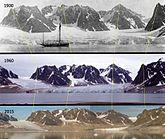 Glacier decrease on Svalbard in the years 1900-1960-2015.jpg