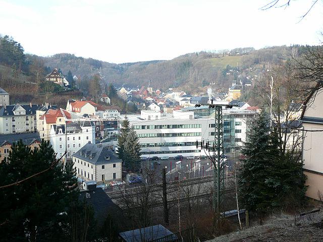 Blick auf die Stadt Glashütte, Sachsen in Deutschland