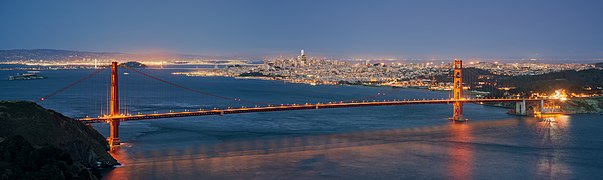Golden Gate Bridge and San Francisco skyline from Hawk Hill at Blue Hour dllu.jpg
