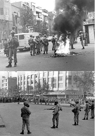 Street clashes between protesters and Shah's regime in Iranian Revolution Government soldiers in 1979 Revolution.JPG