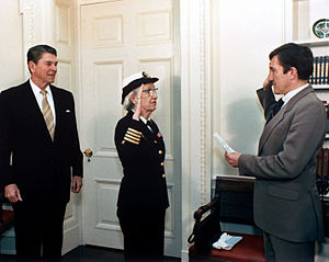 Grace Hopper - Hopper being promoted to the rank of commodore in 1983