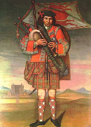 Belted plaid - The Grant Piper by Richard Waitt, 1714.  The pattern of the piper's belted plaid differs from any modern Grant tartan.