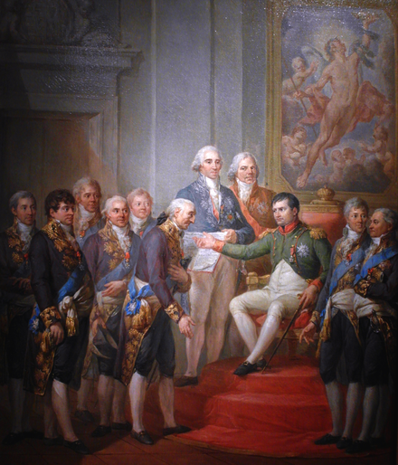 Napoleon Bonaparte establishing the Duchy of Warsaw under French protection, 1807 Granting of the Constitution of the Duchy of Warsaw by Napoleon.PNG