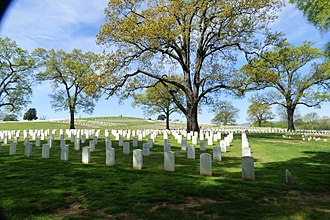 Chattanooga National Cemetery - Graves stretching to the top of the hill in the center of the cemetery.