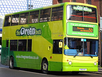The Green Bus - Alexander ALX400 bodied Dennis Trident 2 on route 50 in Birmingham in February 2013