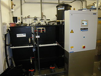 Greywater - Greywater treatment plant with membrane bioreactor in the basement of an office building in Frankfurt