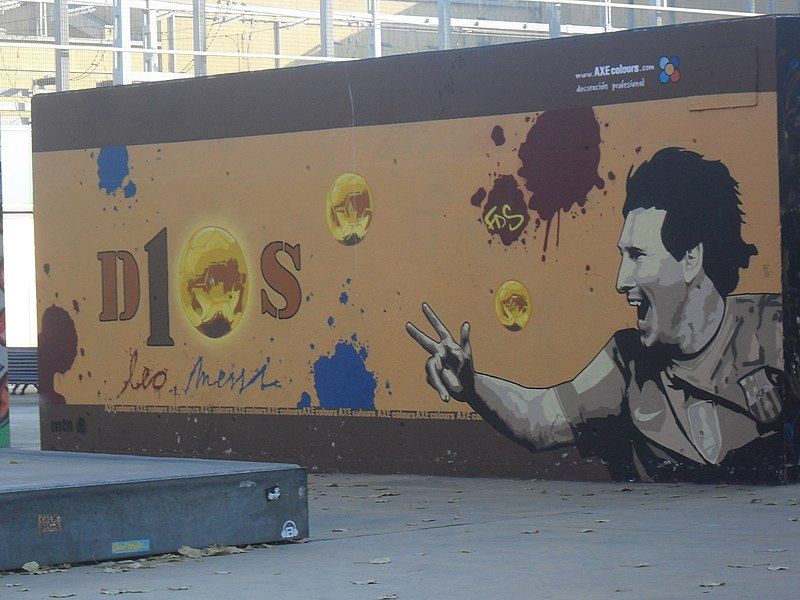 Graffiti de Messi en Barcelona.