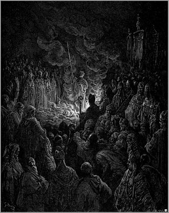 Trial by ordeal - Peter Bartholomew undergoing the ordeal of fire, by Gustave Doré.