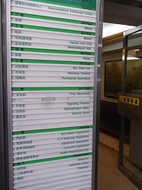 HK Central Hong Kong China Hospital floor directory sign Aug-2012.JPG