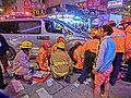 HK Cheung Sha Wan Night Cheung Wah Street Un Chau Street traffic accident Firefighters at work Nov-2013 03.JPG