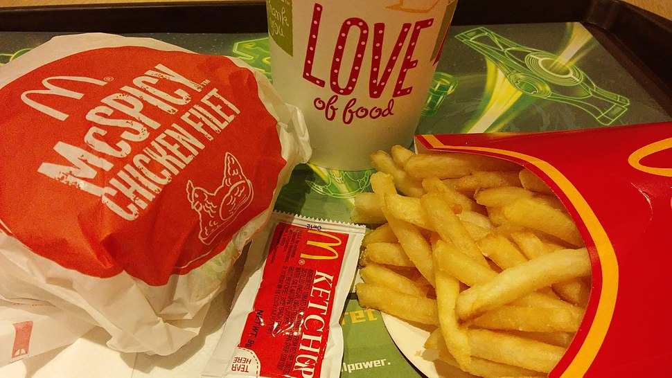 HK Kln Bay Telford Plaza McDonalds Restaurant McSPICY Chicken Filet French fries Nov-2014 Love mark sign n coke