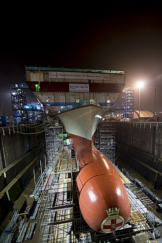 HMS Prince of Wales (R09) - The bow section of Prince of Wales in December 2014