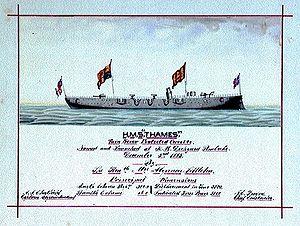 Godfrey Herbert - HMS ''Thames'', depicted soon after her launch in 1885
