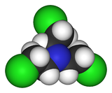Spacefill model of tris(2-chloroethyl)amine
