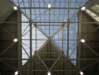 The skylight at the main entrance of HP Pavilion.