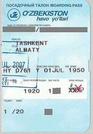 Uzbekistan Airways Boarding Pass