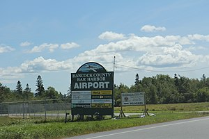 Hancock County-Bar Harbor Airport - Image: Hancock County Bar Harbor Airport sign