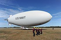 Handlers prepare to launch the U.S. Navy MZ-3A manned airship for an orientation flight from Naval Air Station Patuxent River, Md., on 131106-N-PO203-532.jpg