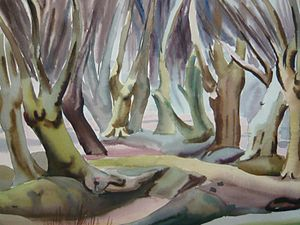 Harry Barr - A watercolour painting of Epping Forest by Harry Barr, 1948