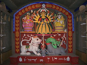 Hatibagan - An unusual artistic depiction of Goddess Durga at Hatibagan Nabin Palli Sarbojanin
