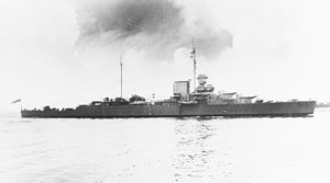 HMS Effingham (D98) - Effingham in 1938, after modernization.