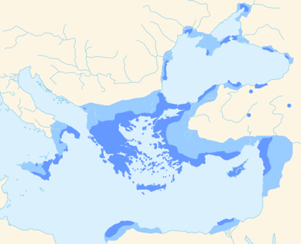 Koine Greek language area: Areas where Greek speakers were probably the majority. Intensely hellenised areas with a significant Greek-speaking minority. Hellenistic Greek.png