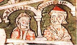Henry IX, Duke of Bavaria - Henry IX and his wife Wulfhilde, Historia Welforum (12th century)