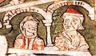 Henry IX, Duke of Bavaria - Henry IX and his wife Wulfhilde, Historia Welforum (12th century)
